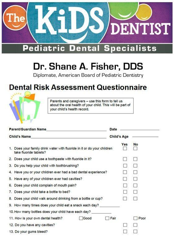 Dental Risk Assessment Questionnaire – The Kids Dentist