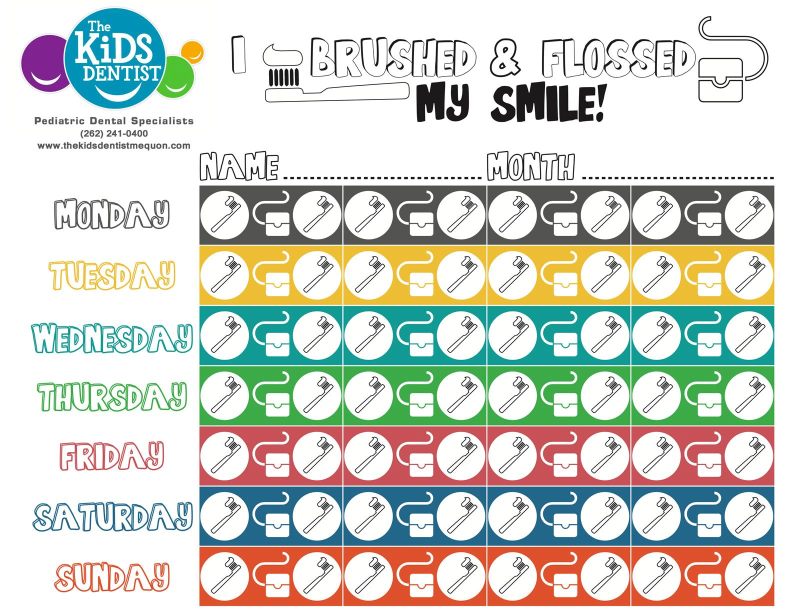 Kids Brushing and Flossing Motivational Chart